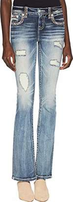 Miss Me Junior's Mid-Rise Embroidered Boot Cut Jeans