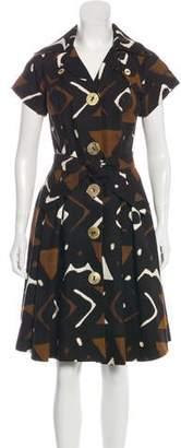 Oscar de la Renta Button-Up Knee-Length Dress