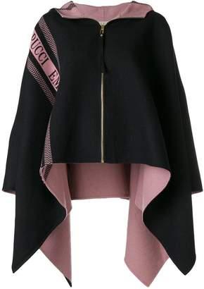 Emilio Pucci logo stripe poncho jacket