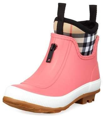 Burberry Flinton Short Rubber Rain Boots w/ Check Detail, Toddler/Kids