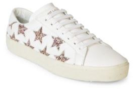 Saint Laurent Court Classic Leather & Glitter Star Sneakers $595 thestylecure.com