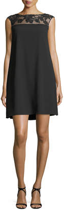 Aidan Mattox Sheer-Illusion Insert A-line Crepe Cocktail Dress