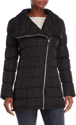 Calvin Klein Asymmetric Zip Quilted Coat