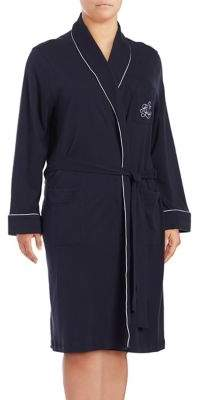 Lauren Ralph Lauren Plus The Hartford Robe with Quilted Collar and Cuffs