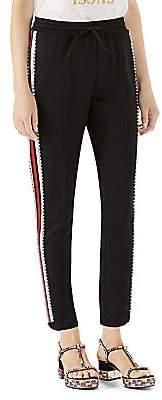 Gucci Women's Crystal-Stripe Jersey Jogger Pants