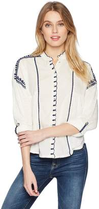 Lucky Brand Women's Embroidered Scalloped Top