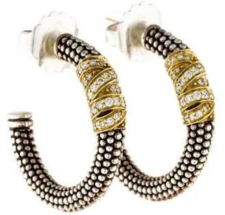 Lagos Two-Tone Diamond Embrace Beaded Hoop Earrings