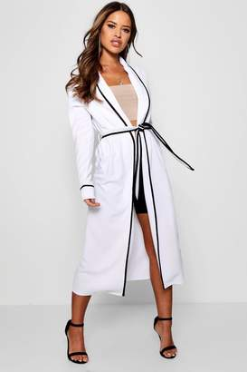 boohoo Petite Piping Detail Belted Duster