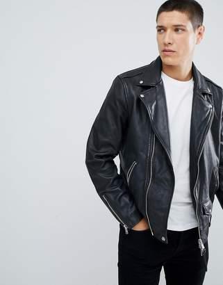AllSaints Leather Biker Jacket In Black