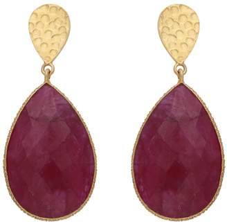 Carousel Jewels - Double Drop Dyed Ruby & Textured Golden Nugget Earrings