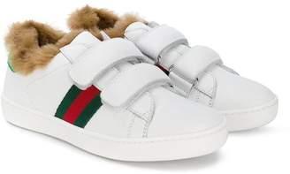 Gucci Kids fox fur lined Web sneakers