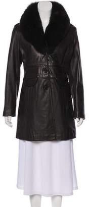 Tahari Fox Fur Accented Leather Coat