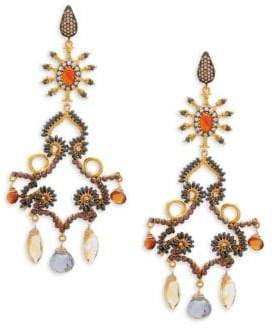 Azaara 22K Dipped Yellow Gold & Multi-Gemstone Drop Earrings