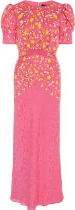 Saloni Bianca Embroidered Silk Midi Dress