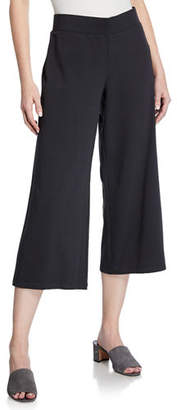 Eileen Fisher Jersey Wide-Leg Cropped Pants, Plus Size
