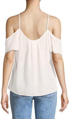 Joie Adorlee Cold-Shoulder Silk Top
