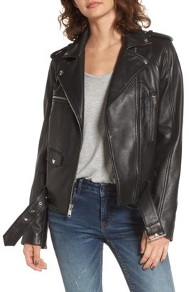 Women's Sam Edelman Contrast Trim Leather Moto Jacket $378 thestylecure.com
