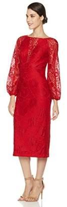 Social Graces Women's Illusion V-Neck Blouson-Sleeve Lace Midi Sheath Dress 8