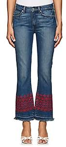 Derek Lam 10 Crosby Women's Jane Eyelet-Embroidered Crop Flared Jeans - Blue