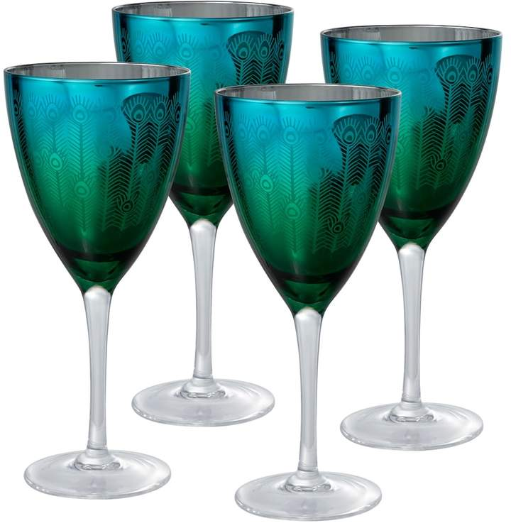 Artland Artland Peacock 4-pc. Wine Glass Set