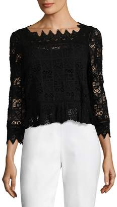 Rebecca Taylor Women's Lace Cotton 3/4 Sleeve Top