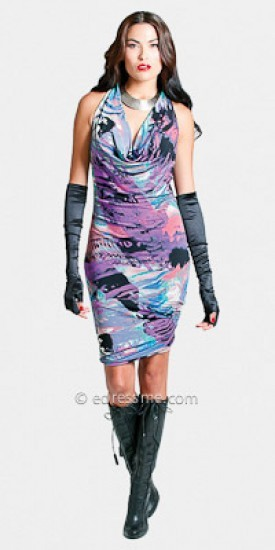 Julian Chang Sexy Cowl Neck Print Dresses