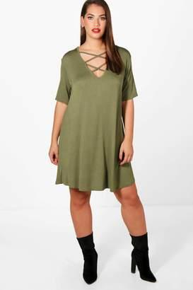 boohoo Plus Cross Front Swing Dress