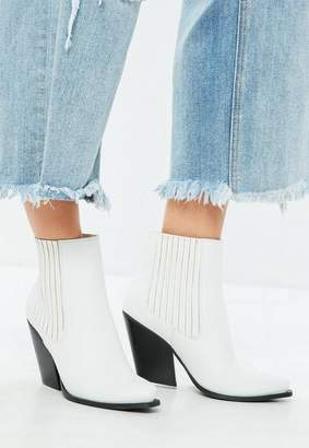 Missguided White Curved Heel Western Chelsea Ankle Boots
