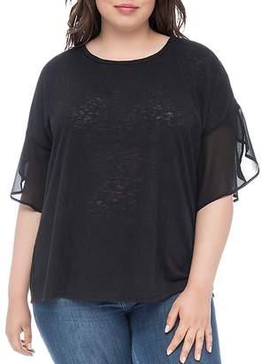 Bobeau B Collection by Curvy Hadley Slub Knit Chiffon-Sleeve Top