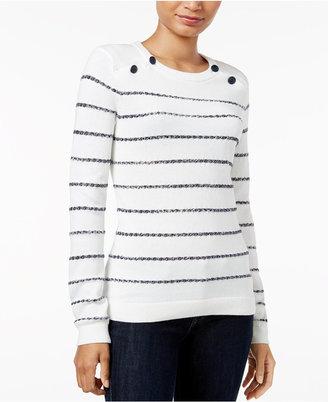 Tommy Hilfiger Cooper Embellished Striped Sweater $69.50 thestylecure.com