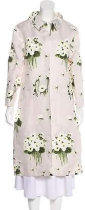 Oscar de la Renta Floral Long Coat