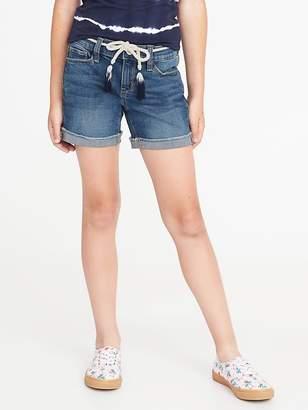Old Navy Rope-Belt Raw-Edge Denim Shorts for Girls