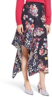 Lewit Asymmetrical Floral Silk Skirt