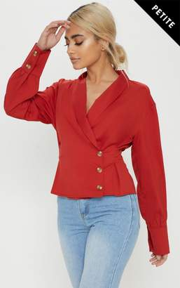 PrettyLittleThing Petite Red Button Front Blouse