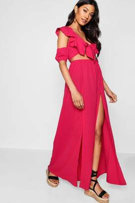 boohoo Knot Front Double Split Maxi Dress