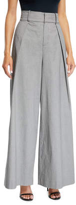 Opening Ceremony Pleated High-Waist Check Wide-Leg Trousers