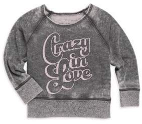 Rowdy Sprout Baby's Girl's& Little Girl's Crazy In Love Burnout Sweatshirt