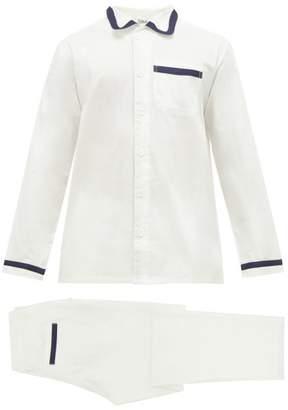 P. Le Moult - Herringbone Jacquard Stripe Cotton Pyjamas - Mens - White