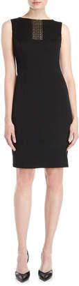 Carolina Herrera Black Mesh Insert Sheath Dress