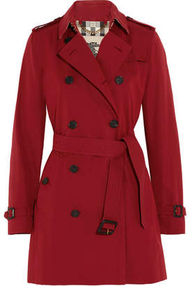 Burberry - The Kensington Mid Cotton-gabardine Trench Coat - Red $1,795 thestylecure.com