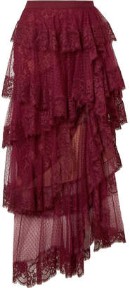 Elie Saab Tiered Cotton-blend Lace And Swiss-dot Tulle Midi Skirt - Burgundy