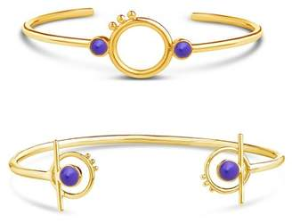 Sterling Forever 14K Yellow Gold Plated Glass Bead Cuff Bracelet Set