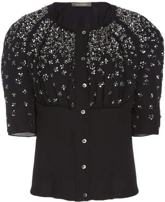 Zac Posen Embroidered Silk Button Front Blouse