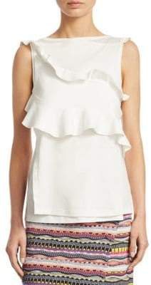 Carven Jersey Ruffle Cotton Tank Top
