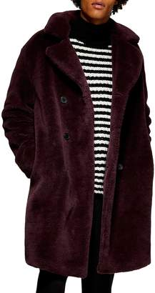 Topman Double Breasted Faux Fur Jacket