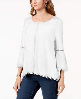 Style&Co. Style & Co Crochet-Trim Swing Top, Created for Macy's