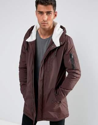 Brave Soul Fleece Lined Hooded Parka Jacket