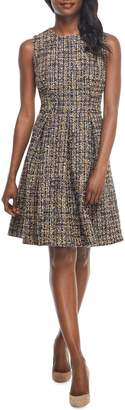 Gal Meets Glam Tinsley Metallic Tweed Fit & Flare Dress