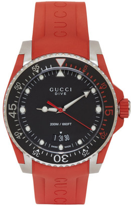 Gucci Red & Silver Dive Watch $1,090 thestylecure.com