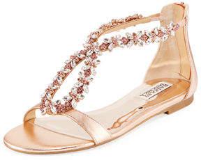 Badgley Mischka Haynes Jeweled Flat Metallic Leather Sandal